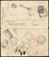 Lot 548:1903 (Sep 15) cover from Clare to Mintaro with multiple re-directions utilising rail network with datestamps for Mintaro Railway squared-circle x2 (Rated 2R), Terowie Railway, Express Railway & Southern Railway, also transit datestamps for Queens Own Town, Saddleworth, Alberton, Adelaide plus DLO Adelaide datestamp in red; cover has been opened-out for display.