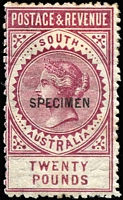 Lot 992:1886-96 'POSTAGE & REVENUE' £20 deep maroon (claret) P11½-12½ Watermark inverted optd 'SPECIMEN'. Likely only one specimen sheet produced with Watermark inverted.