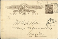 Lot 1067 [2 of 3]:Squared-Circles on Cover with [Rated 2R] very fine 'MYLOR' on 1900 1d Postal Card to Magill, superb Type SC2 'WARRINA' on cover to Adelaide with Hergott Springs & PA Railway backstamps; also [Rated R] 'WAROOKA' on 1911 PPC to Edithburgh. (3)