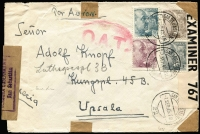 Lot 1847:1945 (Sep 1) airmail cover to Sweden with 4p75 franking, tied by San Sebastian datestamps, paying postage (1p75) & airmail (3p) fees, censored at San Sebastian and London where Type I 'OAT' cachet applied. The probable route described in vendor's typed annotations.