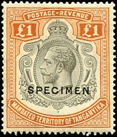 Lot 1434 [1 of 5]:1927-31 KGV Keyplates 2/- to £1 optd 'SPECIMEN', very fine with lightly mounted original gum.