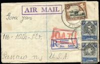 Lot 1604:1945 (Dec 22) registered cover to USA from Masindi Polish Refugee Camp with 1s60c franking tied by Masindi double-ring datestamps, registration label overprinted 'POLISH REFUGEE CAMP/MASINDI 2' in violet, Type XI 'OAT' handstamp in red applied in London, New York & Passaio backstamps. Probable route fully described in vendor's typed annotations, plus a brief history of the Masindi Refugee Camp.