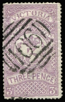 Lot 1095:1884 Stamp Statute Wmk 1st V/Crown Perf 13 3d mauve SG #221, with very fine BN '166' cancel of Wyndham, couple of flattened creases. Genuine postally used examples are extremely rare, with very few recorded. Grossly undercatalogued at Cat £800. [Ex Freeman, illustrated at page 92 of 'The Barred Numerals of Victoria']
