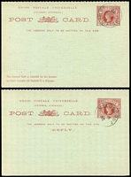 Lot 771 [3 of 6]:Selection mostly Victoria with unused x18 (plus two unused Letter Cards), CTO x5, and postally used x4 including 1884 use of 1d Card for National Bank of Australasia from Shepparton to Port Melbourne; NSW unused x3 and used x3 including 1898 1½d Card from Sydney to Zurich plus WA 1d Card unused; some duplication; condition variable, mostly fine. (36)