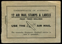 Lot 388:1935-36 3/- 'USE the AIRMAIL' BW #B50, containing three panes of 4 of 3d Type B Airmail issue, airmail labels removed, some light toning affecting covers and stamp pane edges Cat $2,250.