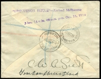 Lot 873 [2 of 2]:1934 England-Australia (Oct 20) MacRobertson Air Race commemorative cover carried by CWA Scott & T Campbell-Black on DH88 Comet 'Grosvenor House' G-ACSS AAMC #433, registered at Melbourne for return flight to England, signed on the reverse by both pilots, Cat $1,250.