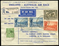 Lot 873 [1 of 2]:1934 England-Australia (Oct 20) MacRobertson Air Race commemorative cover carried by CWA Scott & T Campbell-Black on DH88 Comet 'Grosvenor House' G-ACSS AAMC #433, registered at Melbourne for return flight to England, signed on the reverse by both pilots, Cat $1,250.
