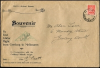 Lot 756 [2 of 2]:1937 Geelong-Melbourne Pratt's Flying School souvenir covers x2 flown glider mail by PJ Pratt on behalf of Geelong Philatelic Society, stamps tied by Melbourne '4AU37' datestamps, signed by pilot, fine condition, Cat $150. (2)