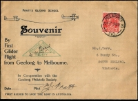 Lot 756 [1 of 2]:1937 Geelong-Melbourne Pratt's Flying School souvenir covers x2 flown glider mail by PJ Pratt on behalf of Geelong Philatelic Society, stamps tied by Melbourne '4AU37' datestamps, signed by pilot, fine condition, Cat $150. (2)