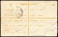 Lot 861 [2 of 2]:1914 (Sep 30) use of 4d Roo Registration Envelope BW #RE3Bd (Large 'T' in 'MUST') uprated with 1d Roo perf 'HB' (Henry Berry private perfin) for transit from Melbourne to Singapore (backstarnp). Nice commercial usage to a scarcer destination.