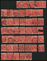 Lot 190 [1 of 13]:1½d Red Accumulation on Hagners all watermarks represented, unchecked for varieties and postmarks, some Official & private perfins sighted, condition variable. (600+)