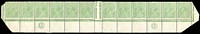 Lot 597:½d Green Comb Perf Electro 5 'CA' Monogram both sides strip of 12, BW #63()zf, crease affecting one unit & single tonespot, few perf reinforcements in sheet margin, fine overall with eleven units MUH. Cat $3,500+.