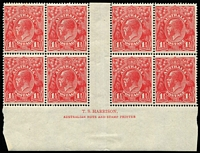 Lot 598:1½d Red Electro 18 Harrison imprint block of 8, BW #90(18)z, lower units MUH, Cat $475 (as an imprint block of 4).