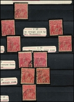 Lot 635 [6 of 7]:1d Red Smooth Paper specialised shades collection, G19 (BW #71J) to G32 (BW #71W) in a 64 page Lighthouse stockbook with substantial duplication throughout the 'G' numbers including a range of ACSC listed varieties. The collection has been relocated (sadly) from an old time annotated collection on pages with the typed annotations cut out and placed into the stockbook. Many are attributed to Orlo Smith, F & J Thornhill and an unknown Mr. Watson with the classification basis apparently mostly being the Colenso Blogg date shade relationship. Only some of the better well known shades have been (mostly incompletely) UV checked with some being accurately identified under UV and others not, but noted salmon eosin BW #71S (all checked however only one correct but with a blunt corner perf), pink BW #71T, carmine-pink BW #71U (one with Inverted Wmk), pale terra cotta BW #71Q and brown-red BW #71W. Further checking of the remainder these shades and all the others in the 'G' range should reward. (600++)