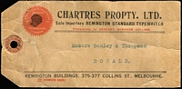 Lot 1605 [2 of 2]:1d Scarlet Aniline (G18) Smooth Paper BW #71l block of 4 & single tied by Melbourne '7OC16' datestamps to Chartres Propty (Remington typewriter importers) parcel tag, addressed to Donald (Vic). Fine condition overall.
