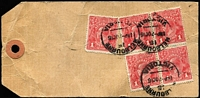 Lot 1605 [1 of 2]:1d Scarlet Aniline (G18) Smooth Paper BW #71l block of 4 & single tied by Melbourne '7OC16' datestamps to Chartres Propty (Remington typewriter importers) parcel tag, addressed to Donald (Vic). Fine condition overall.
