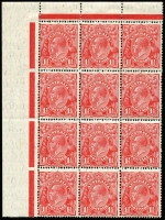Lot 602:1½d Red Die I Translucent paper, BW #92ab marginal block of 12, eleven units MUH, Cat $2,050+.