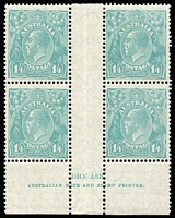 Lot 605:1/4d Greenish Blue Ash imprint block of 4, BW #130z, single nibbed perf & perf separation in margin, fine MLH with three units MUH. Fresh block, Cat $3,250+.