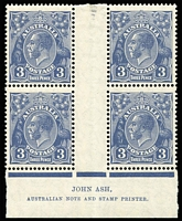 Lot 604:3d Blue Die II Ash imprint block of 4, BW #108z, mounted in central gutter, stamps MUH, Cat $275.