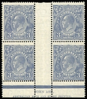 Lot 603 [1 of 2]:3d Blue Die Ia Mullet Plates Plate 3 Ash imprint block of 4 with variety White flaw over 'IA' fof 'AUSTRALIA' [4R55], BW #107(3)z, three units MUH, Cat $825.