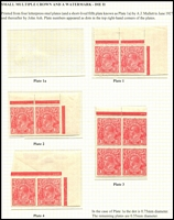 Lot 599 [2 of 2]:1½d Red Die II Plate dot pairs comprising Pl 1a (Cat $1,000 as a block of 4), Pl 1, Pl 2 & Pl 4, also a Pl 3 block of 4; fine mint with many units MUH. (5 items)