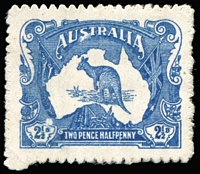 Lot 502:1912 Type 1 Essay in horizontal format showing Kangaroo on Map of Australia between the Royal Standard and Australian Flags for a 2½d value in bright blue on thick, ungummed, unwatermarked paper, rouletted perce en scie 14½, BW #KE2, minor surface blemish at lower-left in no way detracts from the very fine appearance. Unique and wonderful Kangaroo exhibition item of the greatest importance.