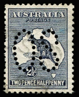 Lot 23:2½d Indigo Perf Large 'OS' BW #9ba, few short perfs at left, fine used, Cat $300.