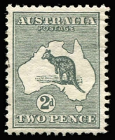 Lot 30:2d Grey variety Cut throat kangaroo [1L48], few nibbed perfs, very well centred, extremely lightly used, with just a few postmark traces in left margin. [Not recorded by Brusden White for 1st Wmk (3rd Wmk BW #7(1)j, Cat $250), would be BW #5(1)j]