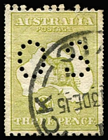 Lot 39:3d Olive Die I variety Double perforations BW #12b, closed tear in left margin, Cat $275.