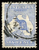 "Lot 52:6d Blue variety Bite out of kangaroo's left leg - State I - with faint line of colour at right [2L17], tidy squared-circle datestamp does not impinge upon the flaw. [Not recorded by Brusden White for 1st Wmk who state ""The previous listing of this variety on First and Second Watermarks cannot be confirmed, and has been removed pending sighting of examples"". Listed for 3rd Wmk as BW #19(2)d, Cat $2,250, would be BW #17(2)d]"