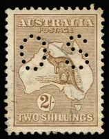 Lot 544:2/- Light Brown Perf 'OS' BW #36ba, well centred, Cat $400.