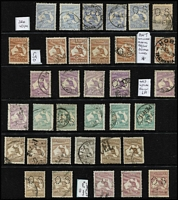 Lot 185 [2 of 2]:2d to 5/- Array with 2d x4, 2½d x4 (incl perf 'OS' Heavy coastline [2L55]), 3d x10, 6d blue x6, 6d chestnut Die IIB x6 (one CTO), 9d x6, 1/- x5, 2/- brown x8 (two perf 'OS'), 2/- maroon x5 (one perf 'OS) & 5/- Short ears on Roo [L55, rare, only occurs late in 3rd Wmk period] (rounded corner, parcel cancel); shades & perf 'OS' examples throughout. Condition rather variable. (52)