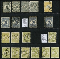 Lot 185 [1 of 2]:2d to 5/- Array with 2d x4, 2½d x4 (incl perf 'OS' Heavy coastline [2L55]), 3d x10, 6d blue x6, 6d chestnut Die IIB x6 (one CTO), 9d x6, 1/- x5, 2/- brown x8 (two perf 'OS'), 2/- maroon x5 (one perf 'OS) & 5/- Short ears on Roo [L55, rare, only occurs late in 3rd Wmk period] (rounded corner, parcel cancel); shades & perf 'OS' examples throughout. Condition rather variable. (52)