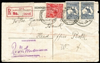 Lot 1542 [1 of 2]:2½d Indigo pair (left side unit Heavy coastline to WA, BW #9(2)d) plus 1d red KGV tied by 'HOLDSWORTHY CAMP/NSW' datestamp to 1918 (Jul 17) 'PRISONER OF WAR LETTER/FREE--.' Envelope to Perth, red registration label & Holman censor handstamp in violet, a section on reverse has been removed. Attractive and unusual.