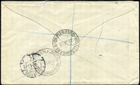 Lot 52 [2 of 2]:6d Chestnut Die IIB BW #21 solo franking tied by Woolloongabba (Qld) '23JA30' datestamp to registered small cover to Denmark, red/white registration label, Copenhagen arrival backstamp.