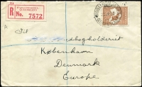 Lot 52 [1 of 2]:6d Chestnut Die IIB BW #21 solo franking tied by Woolloongabba (Qld) '23JA30' datestamp to registered small cover to Denmark, red/white registration label, Copenhagen arrival backstamp.
