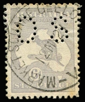 Lot 472 [1 of 2]:6d Grey-Blue Die II perf 'OS' with Islands in Bass Strait, 19Eba(2)f, unfortunate tones, well centred with a nice 'MARKET SQUARE GEELO[NG]/12MY21/V[IC]