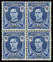 Lot 412:1942-51 3½d Blue KGVI blue block of 4, variety Thin paper, BW #231a, fresh MUH, Cat $500+ (as mounted mint).