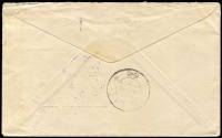 Lot 416 [2 of 2]:1946 3½d Peace BW #237 tied by Sydney machine cancel to 1946 (Apr 6) cover to Batavia, double-circle 'NETHERLANDS POST OFFICE/11 APR 1946/BRISBANE' datestamp in violet, arrival backstamp. Attractive and scarce item from a liberated Dutch POW.