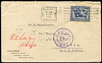 Lot 416 [1 of 2]:1946 3½d Peace BW #237 tied by Sydney machine cancel to 1946 (Apr 6) cover to Batavia, double-circle 'NETHERLANDS POST OFFICE/11 APR 1946/BRISBANE' datestamp in violet, arrival backstamp. Attractive and scarce item from a liberated Dutch POW.