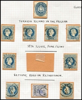 Lot 1215 [2 of 2]:1860s-1880s Issues Used in Tenedos (Turkish Aegean Island), Rettimo (Crete) & Prevesa (Greece): mostly on 10s values, also a complete 'RETTIMO' strike in blue tying 5s pair to small piece. Seldom offered. (11)