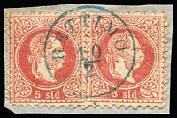 Lot 1215 [1 of 2]:1860s-1880s Issues Used in Tenedos (Turkish Aegean Island), Rettimo (Crete) & Prevesa (Greece): mostly on 10s values, also a complete 'RETTIMO' strike in blue tying 5s pair to small piece. Seldom offered. (11)