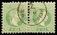 Lot 1404 [1 of 3]:1860s-1900s Issues Used in Scio-Cesme: Lombardy & Venetia Arms 5s, 10s x4 & 15s x3, Austro-Hungarian 1867-73 3s green with largely complete 'SCIO-CESME' datestamp plus a 10s strip of 3, later issues to 2pi including part strike of large oval 'AGENZIA DEL LLOYD/CESME/AUSTRIACO' ship handstamp on two 1890-96 surcharge issues. (28 items)
