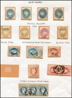 Lot 10067 [2 of 3]:1860s-1900s Issues Used in Scio-Cesme: Lombardy & Venetia Arms 5s, 10s x4 & 15s x3, Austro-Hungarian 1867-73 3s green with largely complete 'SCIO-CESME' datestamp plus a 10s strip of 3, later issues to 2pi including part strike of large oval 'AGENZIA DEL LLOYD/CESME/AUSTRIACO' ship handstamp on two 1890-96 surcharge issues. (28 items)