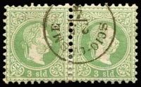 Lot 1013 [1 of 3]:1860s-1900s Issues Used in Scio-Cesme: Lombardy & Venetia Arms 5s, 10s x4 & 15s x3, Austro-Hungarian 1867-73 3s green with largely complete 'SCIO-CESME' datestamp plus a 10s strip of 3, later issues to 2pi including part strike of large oval 'AGENZIA DEL LLOYD/CESME/AUSTRIACO' ship handstamp on two 1890-96 surcharge issues. (28 items)