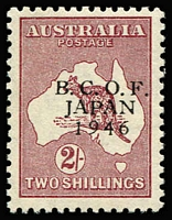 Lot 570 [2 of 2]:1946-49 2/- Roo overprint varieties Distorted 'B' of 'BCOF' [L5/3] BW #J6e MLH, also No serif on 'B' of 'BCOF' MUH. (2)