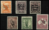 Lot 566 [2 of 2]:1946-49 Overprints ½d to 5/- (Thin paper) set BW #J1-J6,J8, MLH, Cat $225. (7)