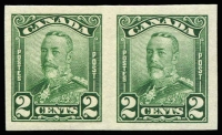 Lot 974:1928-29 KGV 2c green, variety Imperforate pair, see SG #276 footnote, very lightly mounted, Cat £110.