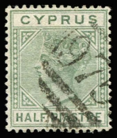 Lot 1113:1882-86 Wmk Crown CA ½pi dull green, variety Top left triangle detached, SG #16ab, fine used, Cat £275.
