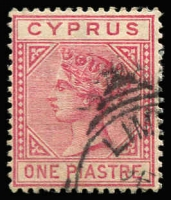 Lot 1114:1882-86 Wmk Crown CA 1pi rose, variety Top left triangle detached, SG #18a, fine used. Cat £325.